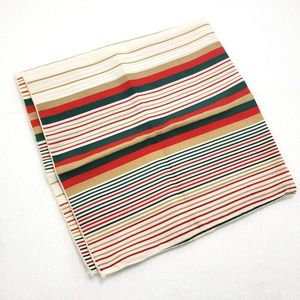 Vintage Striped Scarf Square Green Red Geometric